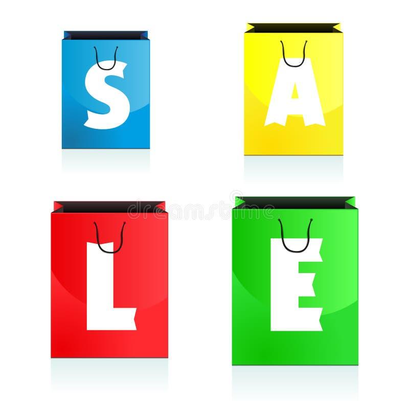 Quatro sacos de compras coloridos que carregam a venda ilustração royalty free
