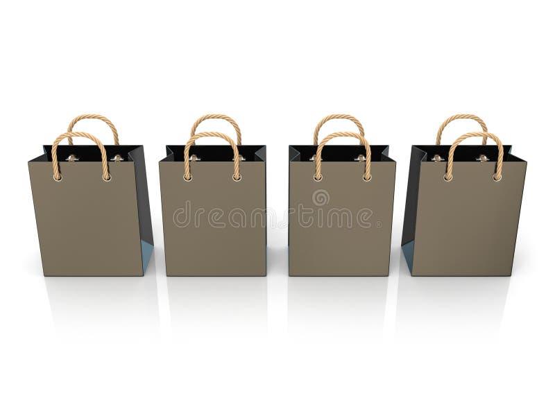 Quatro, sacos de compras vazios, pretos, vazios 3d ilustração royalty free