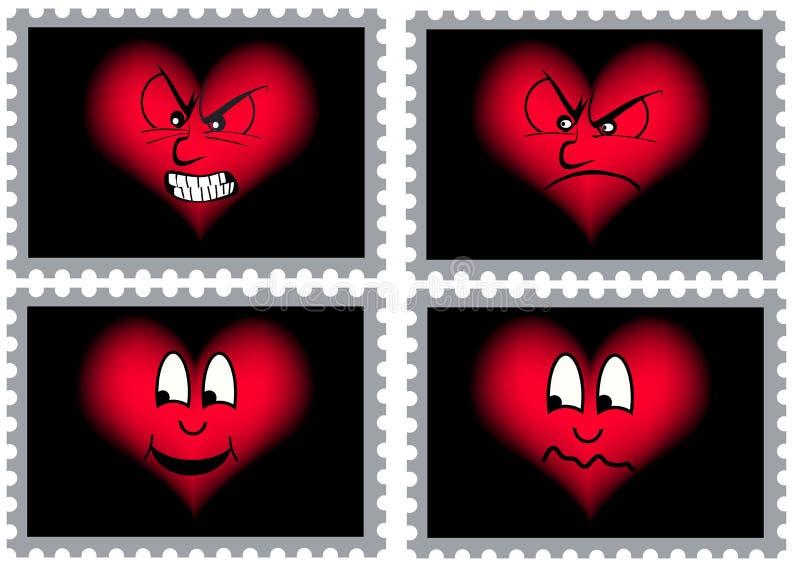 Quatro selos com corações ilustração royalty free