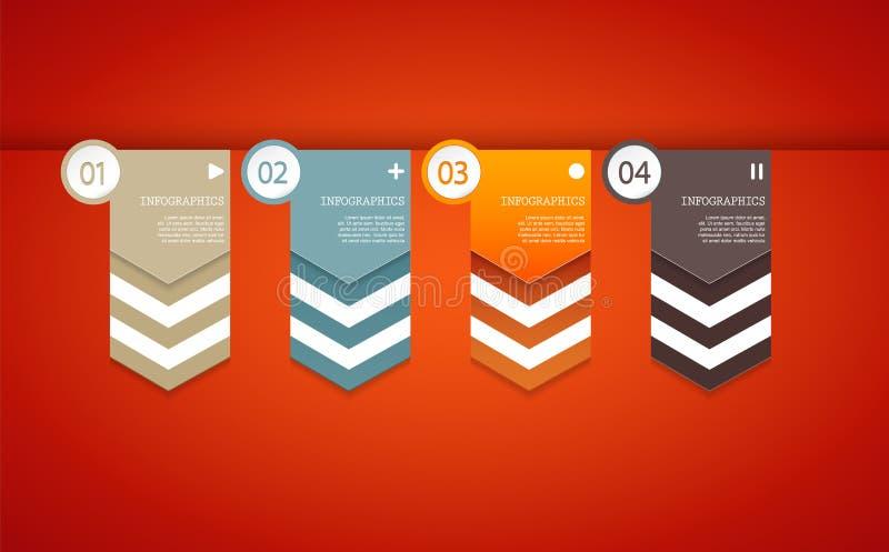 Quatro setas do papel colorido com lugar para seu próprio texto ilustração stock