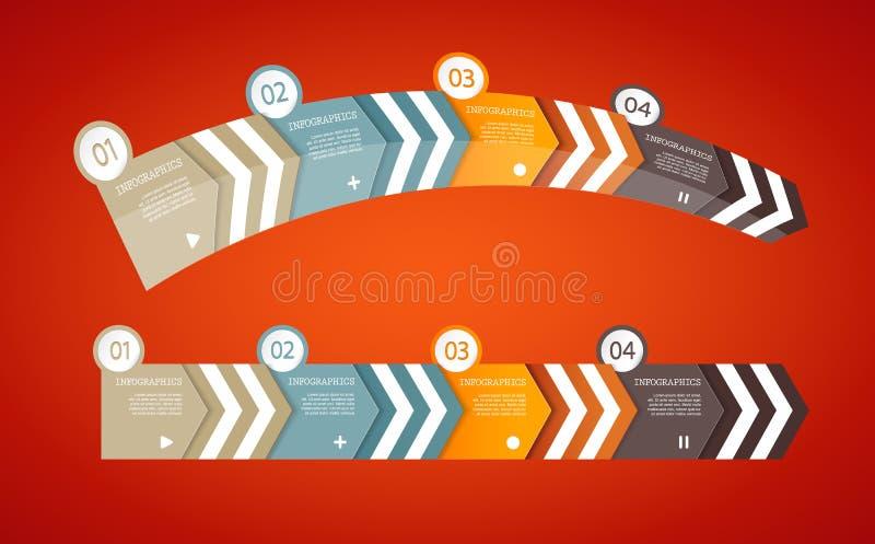 Quatro setas do papel colorido com lugar para seu próprio texto ilustração royalty free