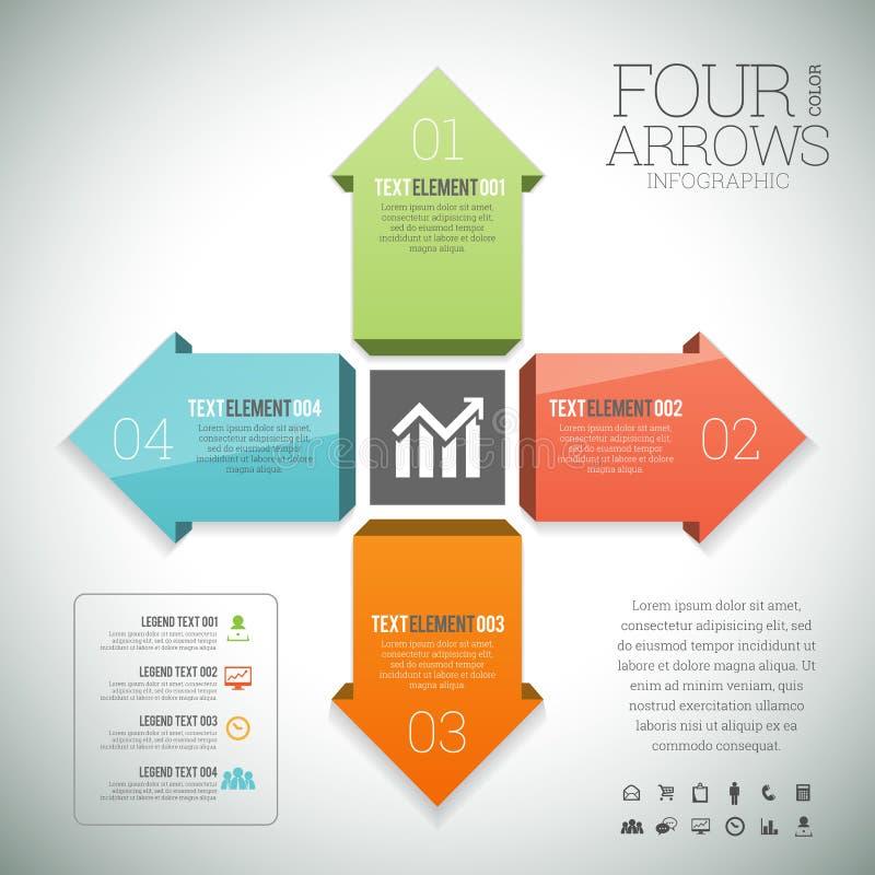 Quatro setas Infographic da cor ilustração royalty free