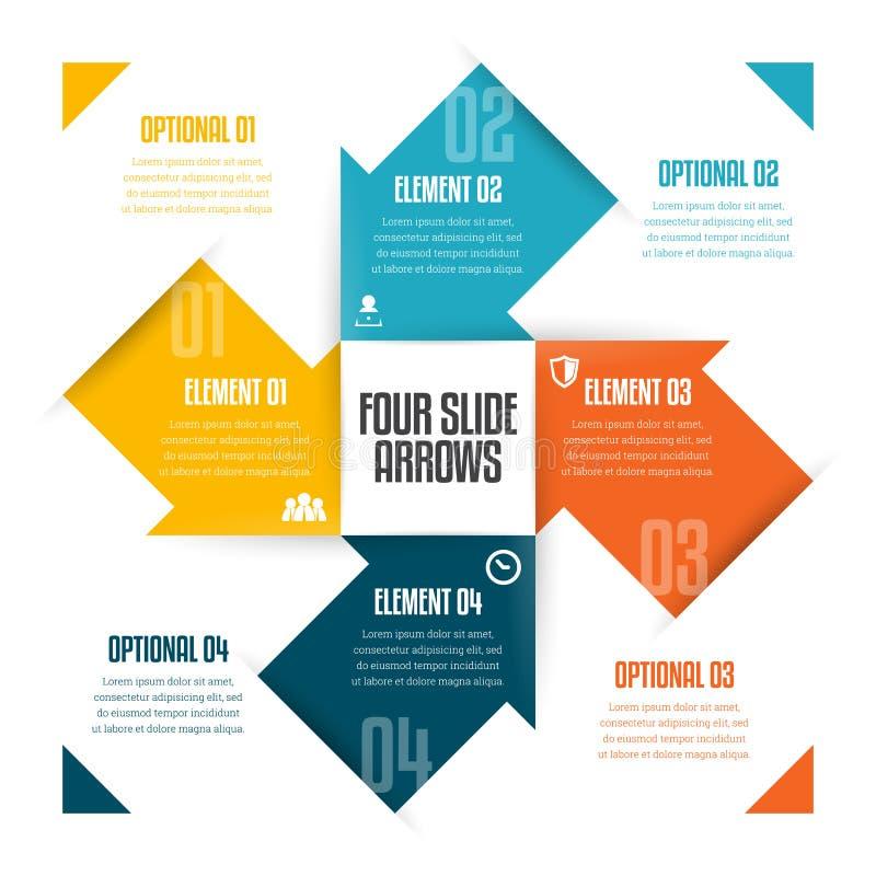 Quatro setas Infographic da corrediça ilustração stock