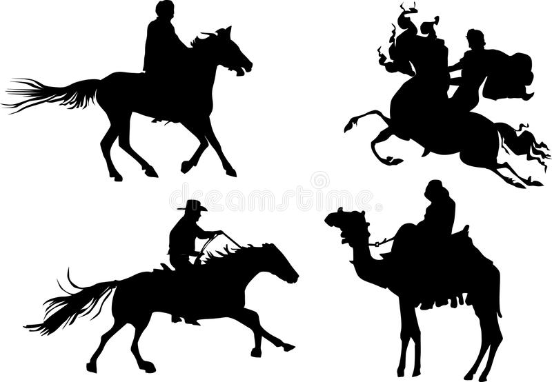 Quatro silhuetas equestres ilustração stock