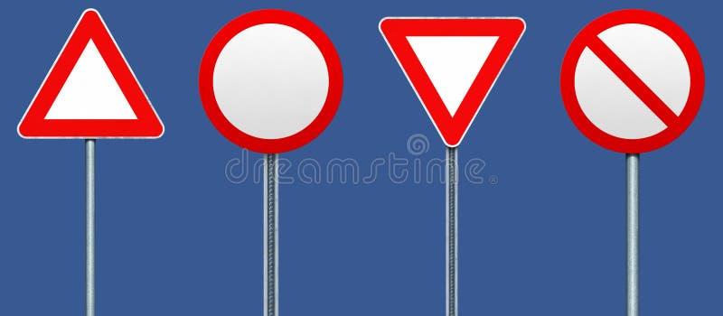 Quatro sinais de estrada vazios ilustração stock