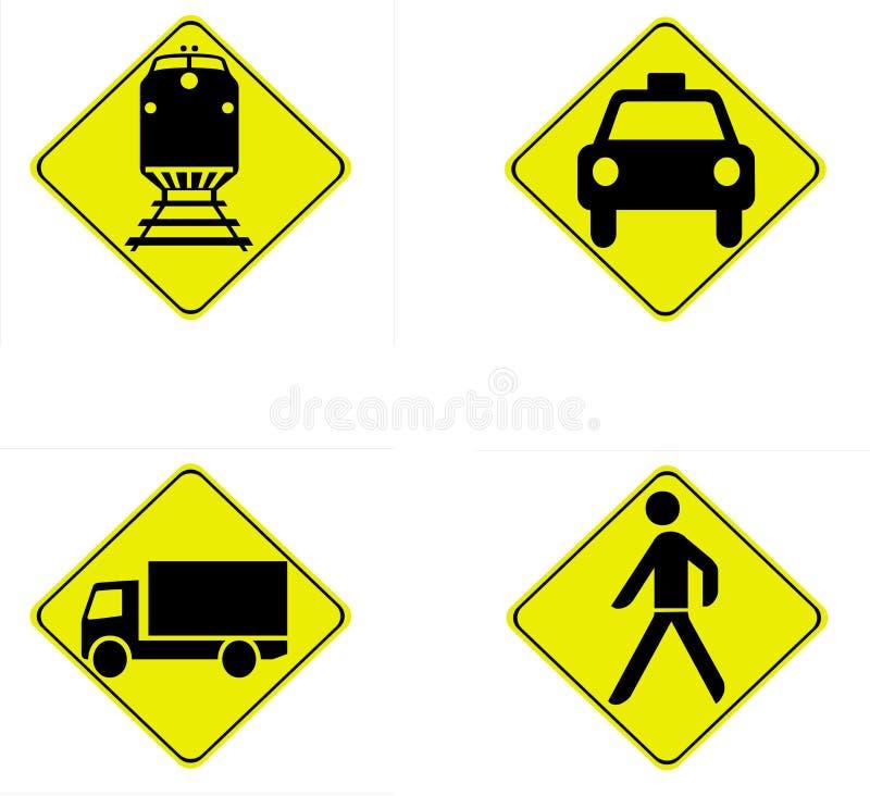 Download Quatro Sinais De Tráfego Da Segurança Ilustração Stock - Ilustração de sinais, veículos: 12805602