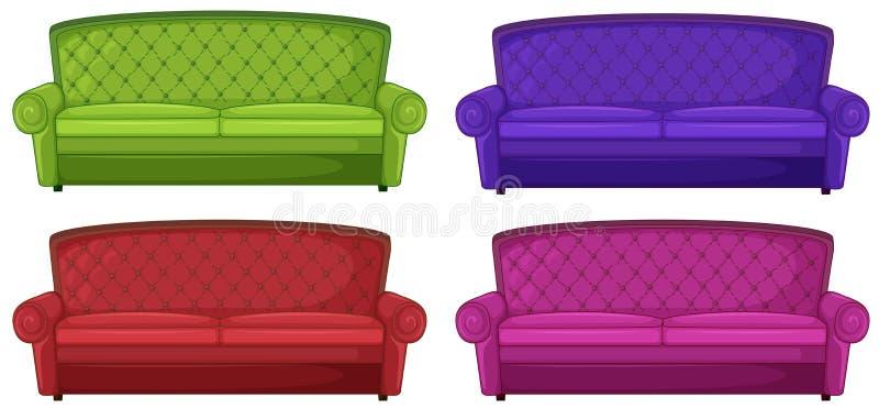 Quatro sofás coloridos ilustração stock