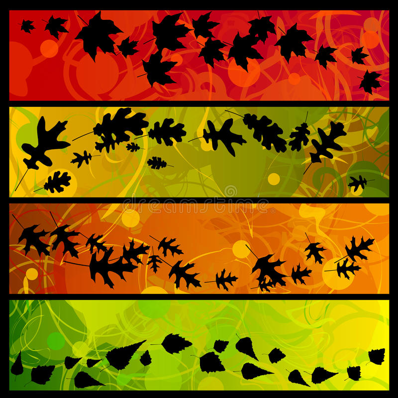 Quatro swirly bandeiras da queda ilustração stock