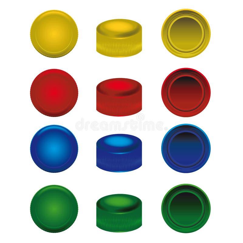 Quatro tampões plásticos das cores das garrafas do animal de estimação ilustração royalty free