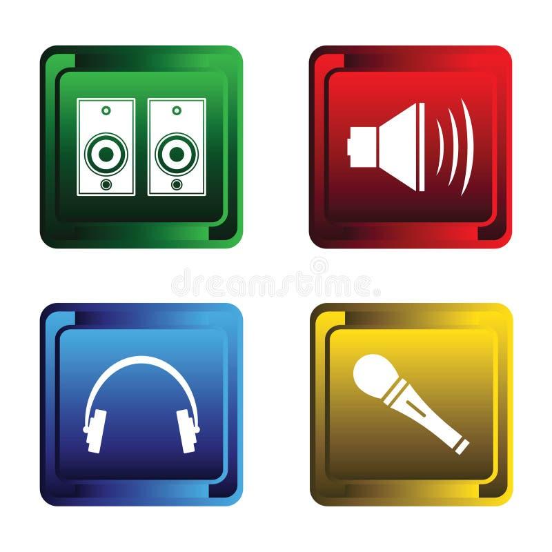 Quatro teclas musicais ilustração stock