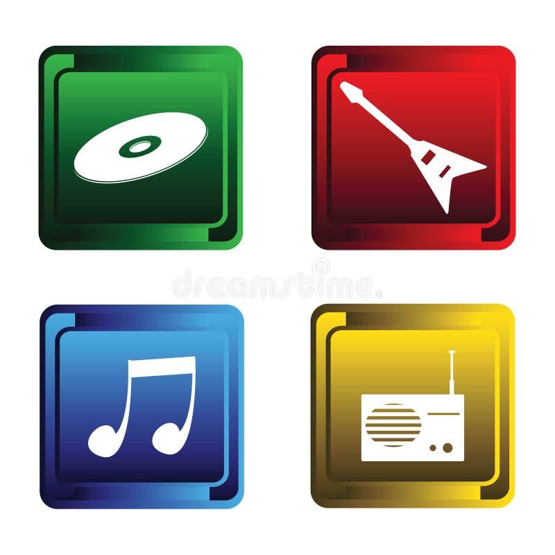 Quatro teclas musicais ilustração do vetor