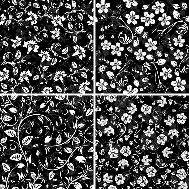 Quatro testes padrões de flor sem emenda ilustração stock