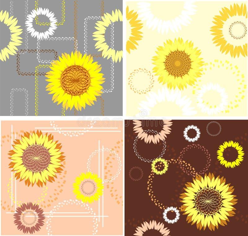 Quatro testes padrões do girassol ilustração royalty free