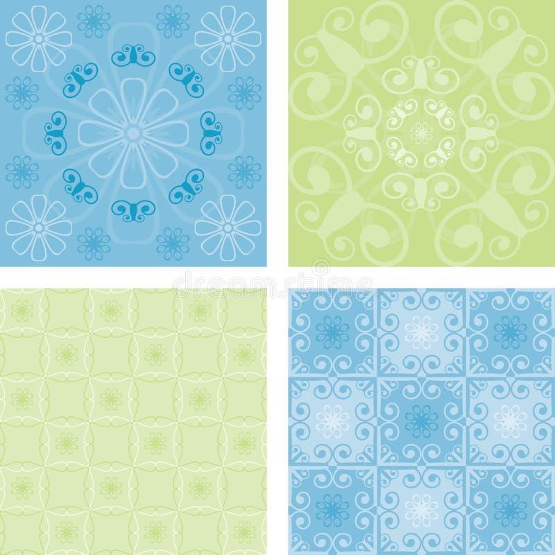 Quatro testes padrões sem emenda ilustração do vetor