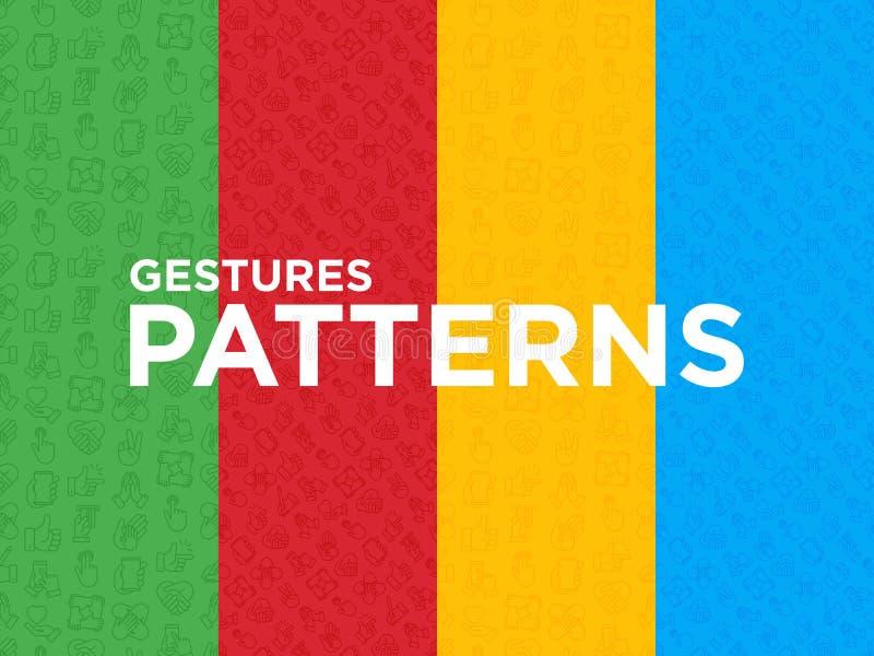 Quatro testes padrões sem emenda com gestos de mãos ilustração do vetor