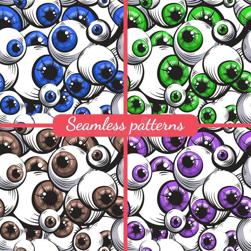 Quatro testes padrões sem emenda olhos ilustração stock