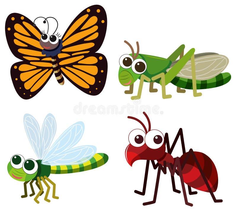 Quatro tipos diferentes de insetos no fundo branco ilustração do vetor