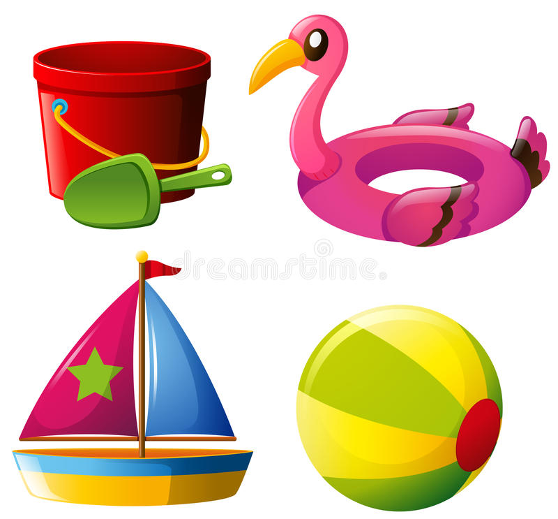Quatro tipos diferentes dos brinquedos ilustração royalty free