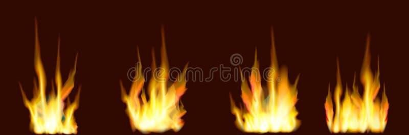 Quatro tipos do fogo de madeira da chama em um fundo marrom ilustração do vetor