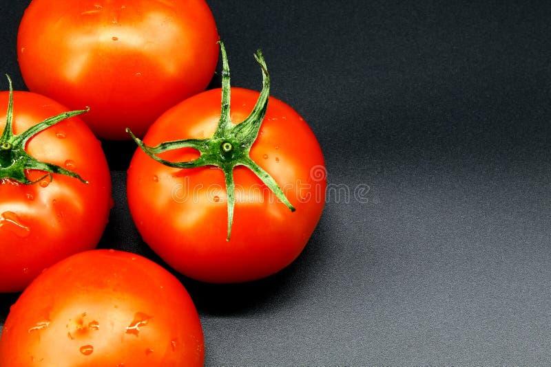 Quatro tomates vermelhos e suculentos maduros encontram-se em um fundo preto fotografia de stock royalty free