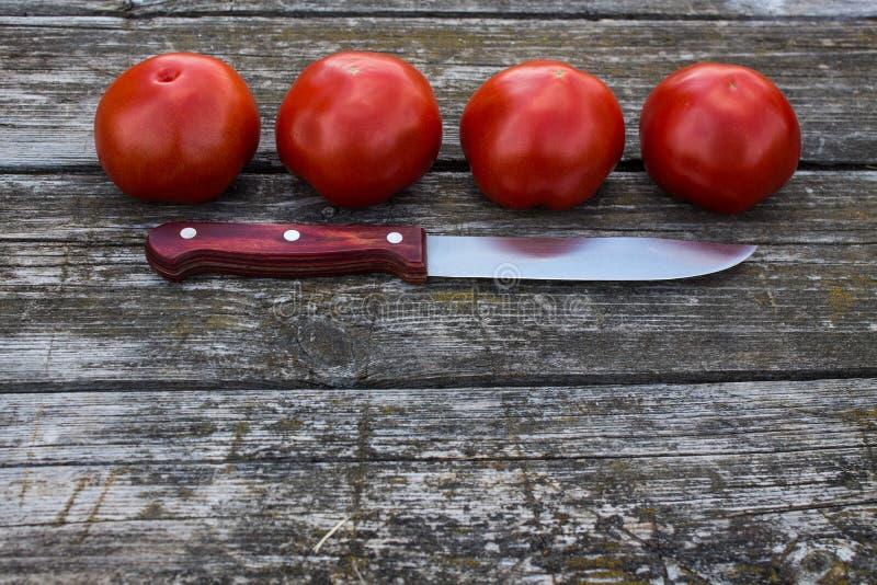 Quatro tomates vermelhos maduros em uma tabela de madeira velha imagens de stock royalty free