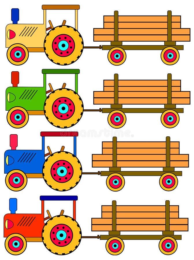Quatro tratores coloridos ilustração do vetor