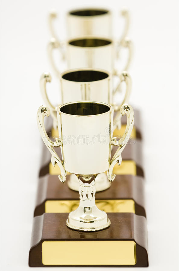 Quatro troféus fotografia de stock