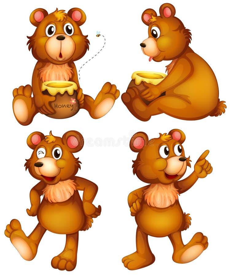 Quatro ursos marrons ilustração do vetor