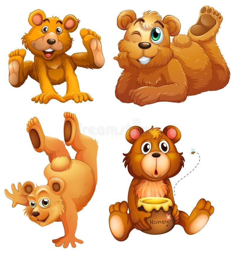 Quatro ursos marrons brincalhão ilustração royalty free