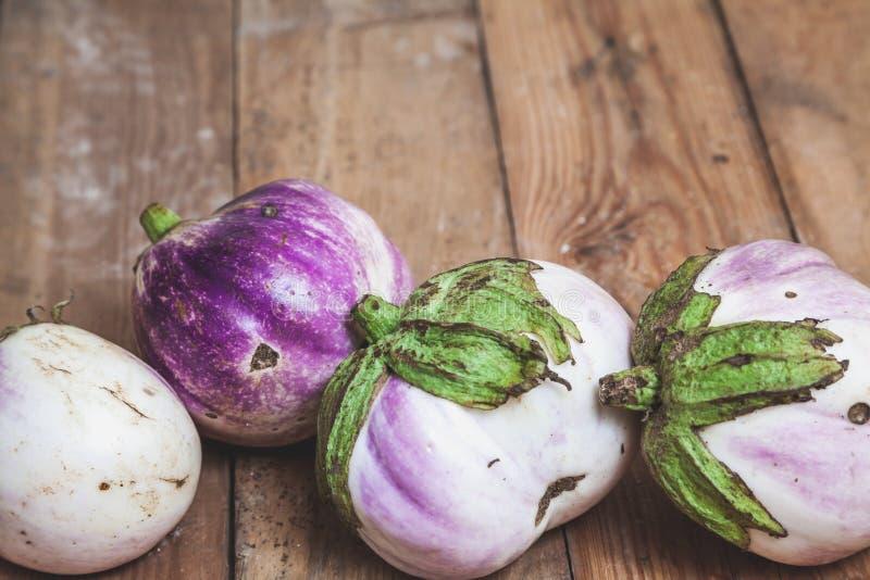 Quatro variedades maduras da beringela de bumbo encontram-se em placas foto de stock