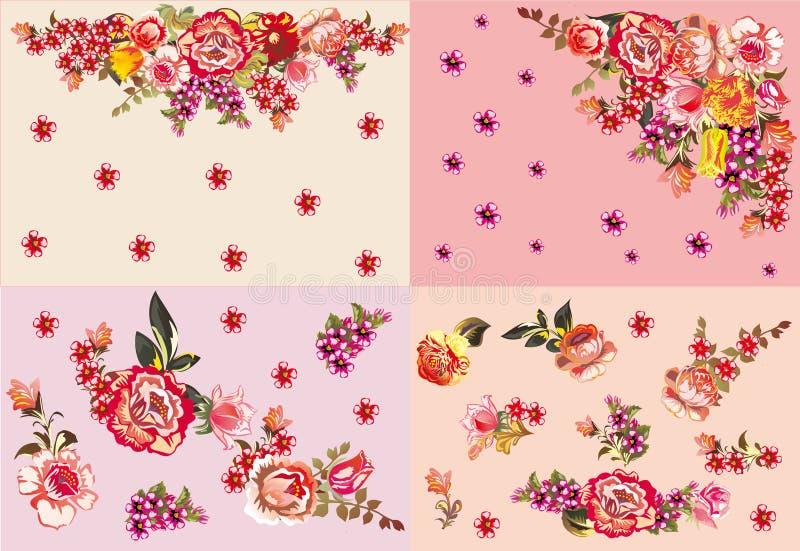 Quatro vermelhos e decorações cor-de-rosa da flor ilustração do vetor