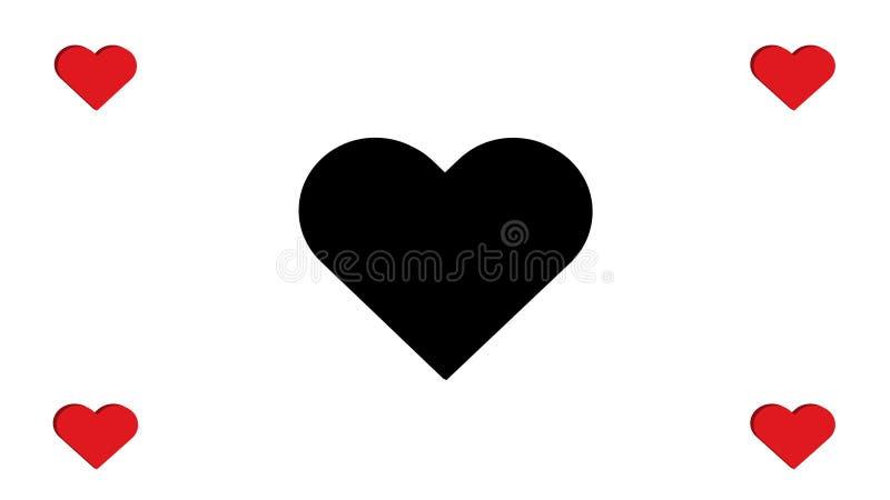 quatro vermelhos e pretos de 3D do coração dos corações projeto simples da ilustração do vetor do amor do múltiplo imagem de stock