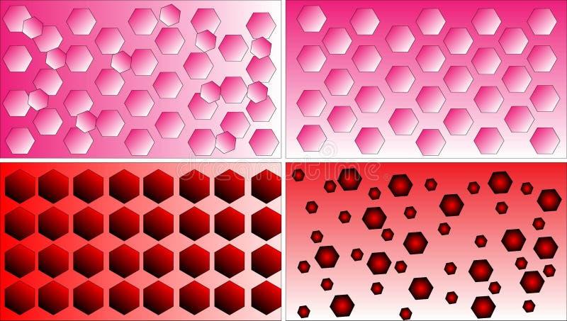 Quatro vetores do fundo do teste padrão do polígono differentred, do rosa e do branco ilustração stock