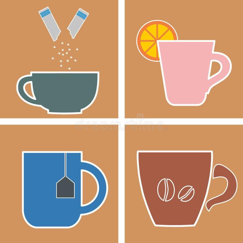 Quatro vidros da bebida quente ilustração do vetor