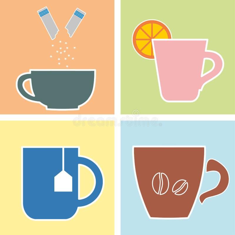 Quatro vidros da bebida quente ilustração stock
