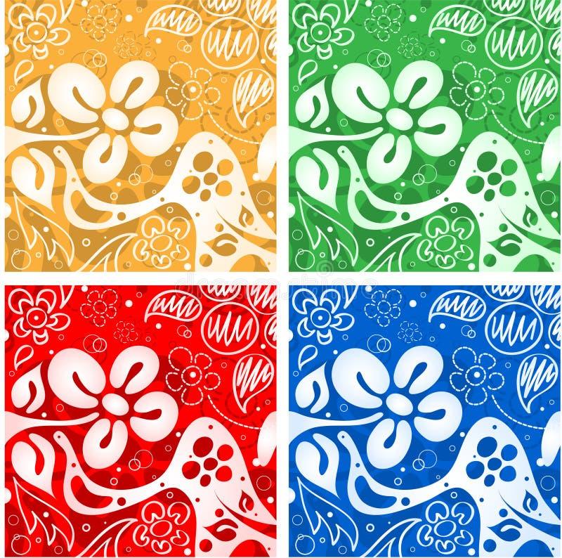 Quattro ambiti di provenienza dei fiori illustrazione vettoriale