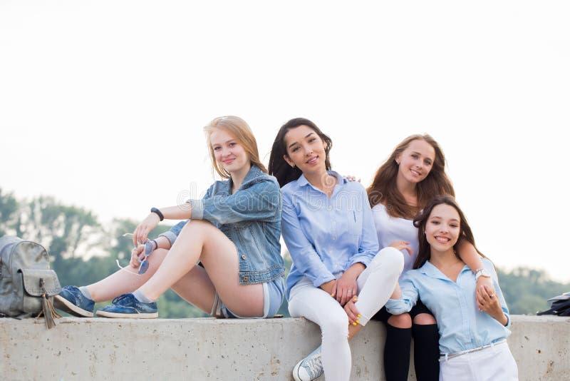 Quattro amici femminili svegli felici attraenti che si siedono in natura e che guardano macchina fotografica fotografie stock