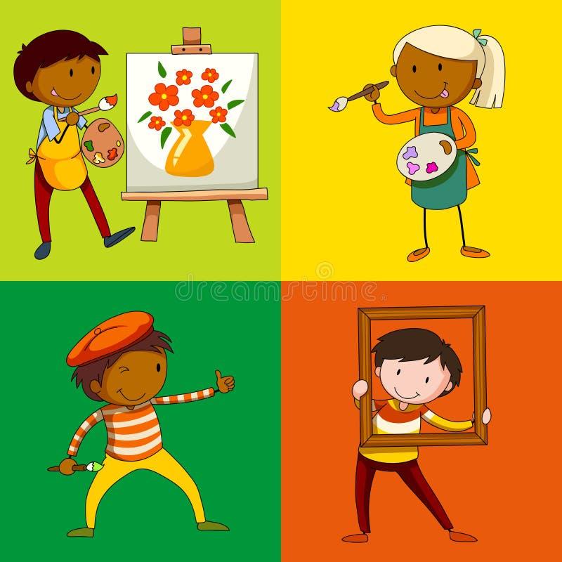 Quattro artisti che dipingono e che colorano illustrazione di stock