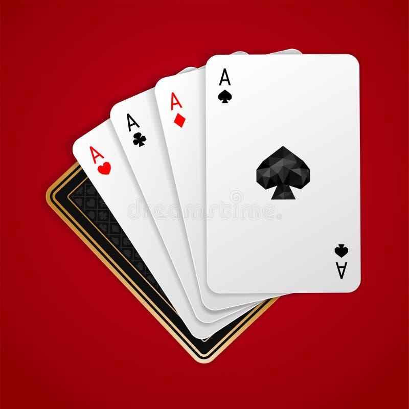 Quattro assi in carta da gioco cinque Mano di mazza di conquista illustrazione vettoriale