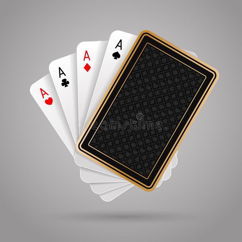 Quattro assi in carta da gioco cinque Mano di mazza di conquista royalty illustrazione gratis