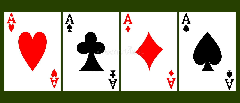 Quattro assi della carta illustrazione vettoriale