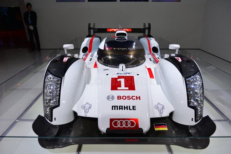 Quattro Audis R18 ETron hybrider Le Mans-Rennwagen lizenzfreies stockbild
