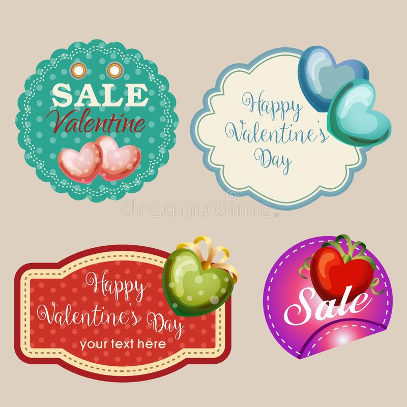 Quattro autoadesivi del biglietto di S. Valentino royalty illustrazione gratis