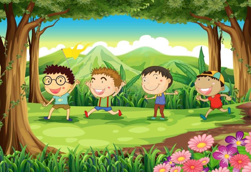 Quattro bambini allegri alla foresta royalty illustrazione gratis