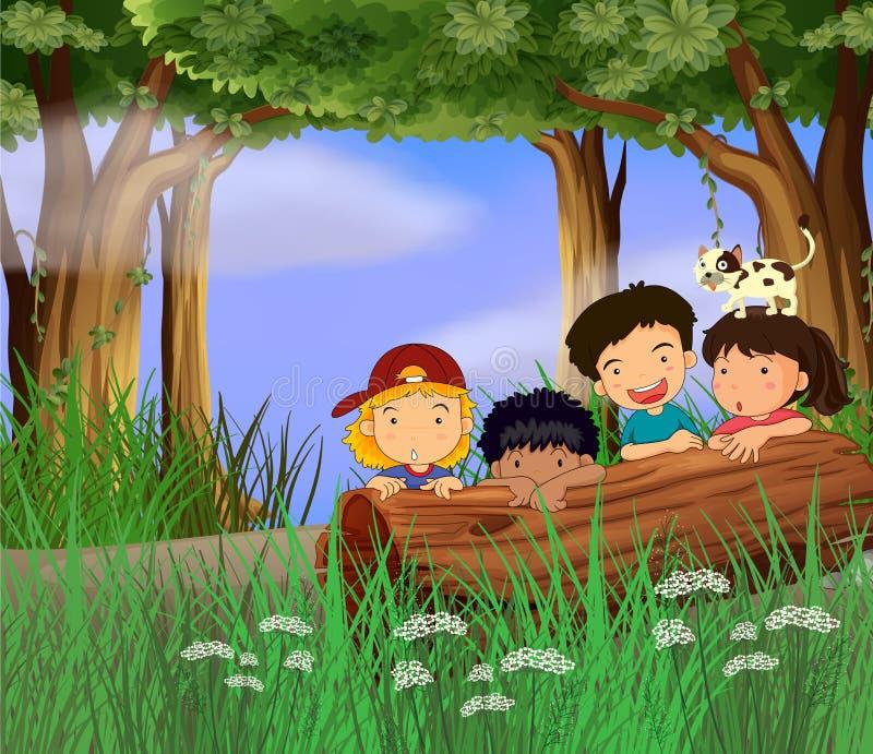Quattro bambini che giocano nella foresta illustrazione di stock