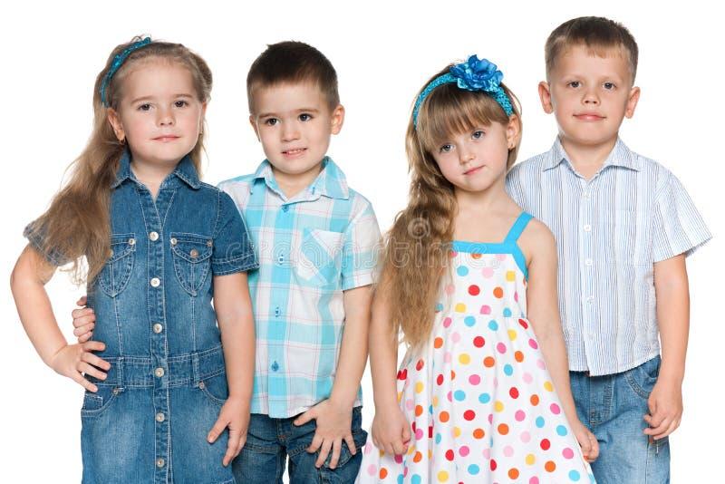 Quattro bambini di modo fotografia stock