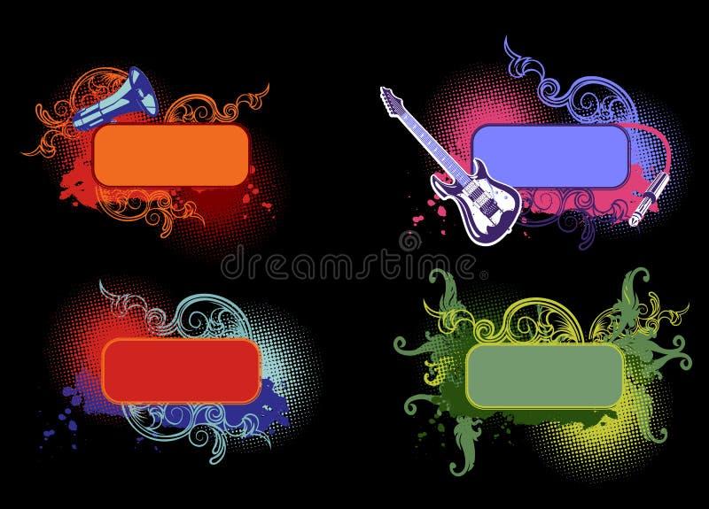 Quattro bandiere di colore di musica illustrazione di stock