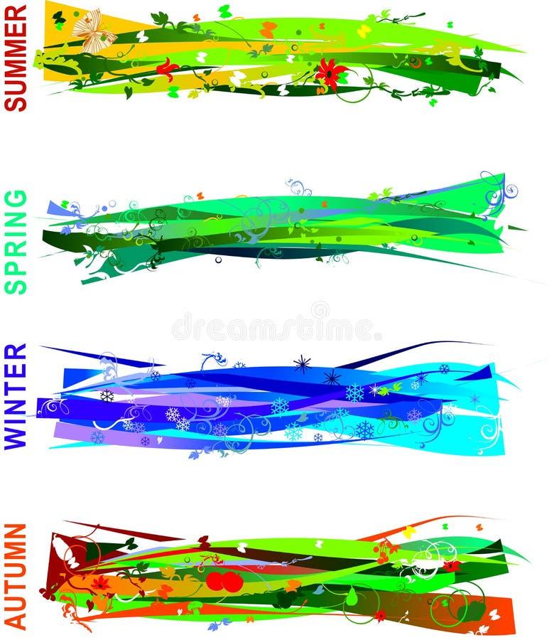 Quattro bandiere di stagioni illustrazione di stock