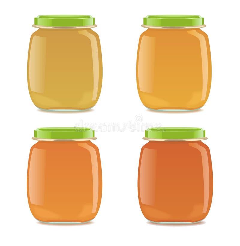 Quattro barattoli di vetro con alimenti per bambini illustrazione di stock