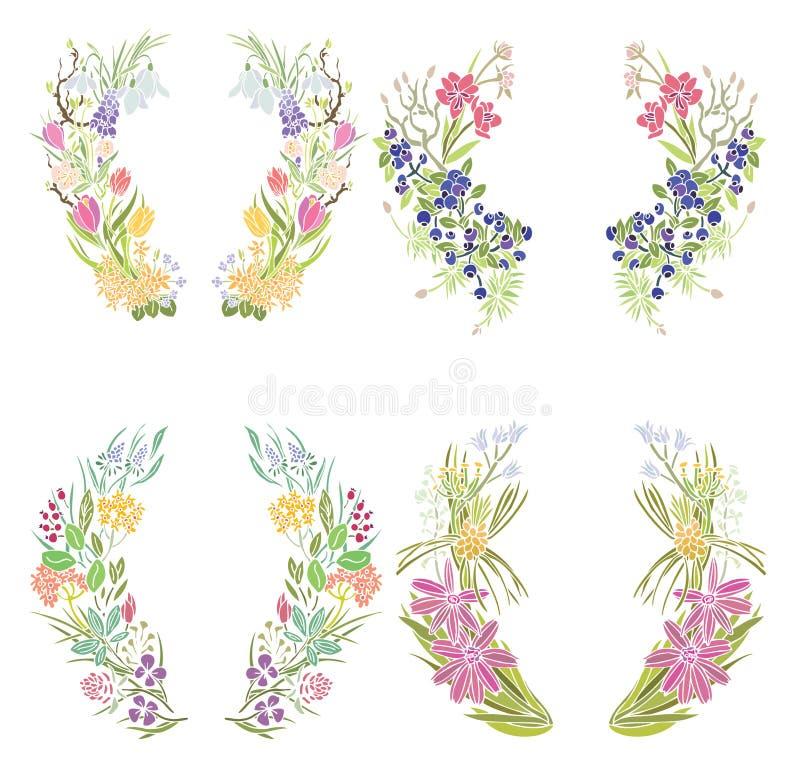 Quattro blocchi per grafici floreali illustrazione vettoriale